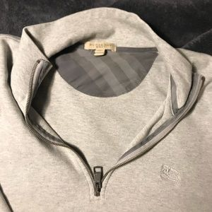 Burberry Grey 1/4 ZIP Sweater Size L